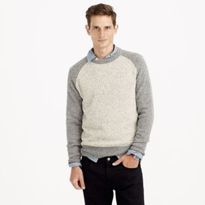 J. Crew Donegal Wool Baseball Sweater Grey